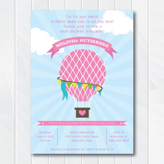 hot air balloon baby shower invitation up up and away baby shower