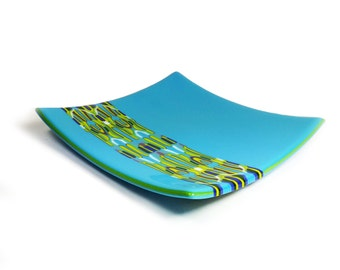 Fused Glass plate Turquoise Rorschach