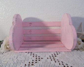Pink Shabby Chic Heart Desktop Bookcase Upcycled Vintage Wood Bookend Shelf Baby Girl Nursery Romantic Cottage French Country Home Decor