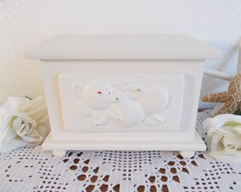 Recipe File Box Antique Off White Ivory Shabby Chic Storage Organizer French Country Farmhouse English Cottage Kitchen Home Decor Gift Her
