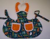 Toddler Apron,Aqua Blue animals, size 2-3 child's cooking apron,Elephant baby chefs apron