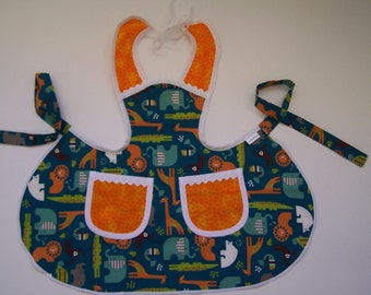 Toddler Apron,Aqua Blue animals, size 2-3 child's cooking apron,Elephant baby chefs apron