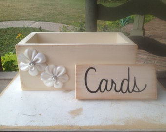 Ivory and White Wedding Cards Box, Wooden Wedding Cards Holder, Distressed Wood Box