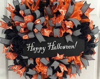 Happy Halloween Wreath, Halloween Wreath, Halloween Grip Liner Wreath