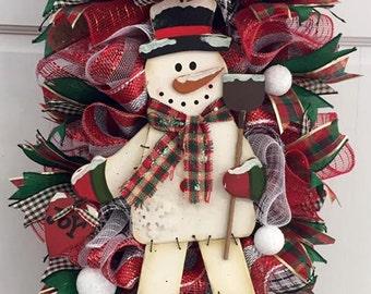 Traditional Plaid Snowman Swag, Traditional Snowman Wreath, Snowman Wreath, Winter Wreath