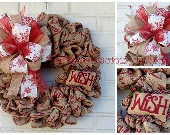 Rustic Burlap Christmas Wish Wreath, Rustic Christms Wreath, Burlap Wish Wreath
