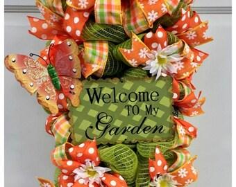 Welcome to My Garden Summer Door/Wall Swag Wreath