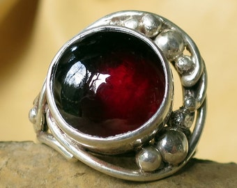 Custom Art Nouveau Sterling Silver Garnet Ring
