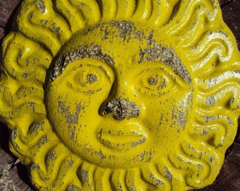 Sun Stone, Weathered Sun Stone, Cement Sun