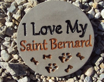 Saint Bernard,  Dog Stone, Handmade Engraved Stone Wall Hanging, Inside Outside