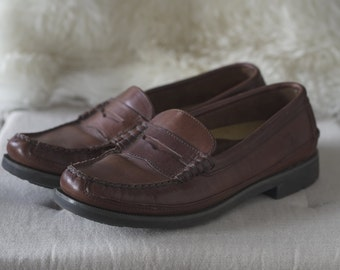 Mens Sperry Top-Sider Wetlands, Brown Leather Loafers, Size 8