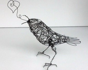 Original Wire Bird Sculpture - LOOPY HEART - Sculpture celebrating Love