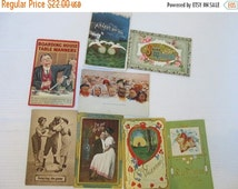 SALE Lot Fun and Funny Victorian Postcards Boarding House Kissing Baseball New Year Babies Valetine Scrapbook and Crafting Supplies