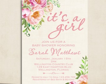 Boho Peony Flower Girl Baby Shower Invitation Watercolor Floral Invite