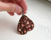 Brown Powder Pink Autumn Roses Decoupaged Earrings Textile Jewelry (DROP)