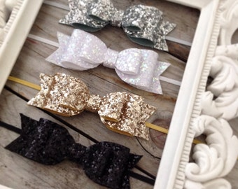 Glitter Bow Headband Set Gold Glitter Baby Bow Silver Glitter Baby Bows Newborn Headbands Photography Props Gold Glitter Bow Baby Shower