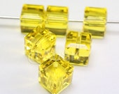 Promotion & Clearance Item - 24 pcs Swarovski Crystal 5601 Cube Beads 6mm Crystal Citrine
