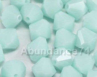 24 pcs Swarovski Element 5301 5328 6mm Bicone Xilion Crystal Beads Mint Alabaster (N)
