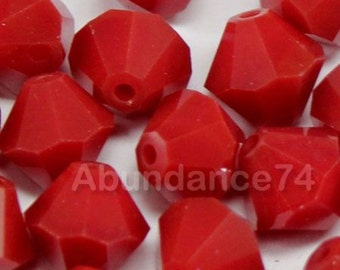 Swarovski Crystal Beads BICONE 5328 5301 Dark Red Coral - Available in 4mm, 5mm, 6mm and 8mm