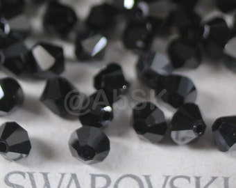 Swarovski Elements Crystal 5328 5301 Xillion Bicone Beads JET HEMATITE - Available in 4mm ,5mm and 6mm