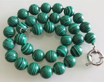 12mm green malachite necklace , free shipping -US E-packet shipping service 7-15 days delivery