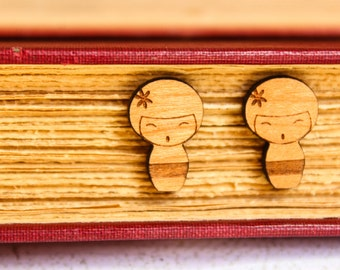 Kokeshi Doll Earring Studs, Laser Cut Wood, Japanese Dolls, Laser Etched Design, Sustainable Wood Earrings