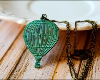 Verdigris Hot Air Balloon Necklace