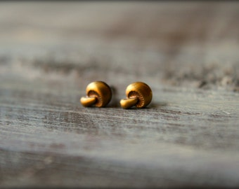 Tiny Mushroom Earring Studs in Raw Brass, Stainless Steel Posts