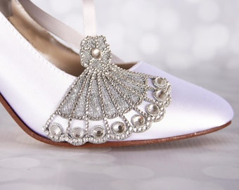 White Wedding Shoes / Bling Wedding / Closed Toe Wedding Shoes / Silver Crystal Design / Custom Wedding / Design My Own Wedding Shoes