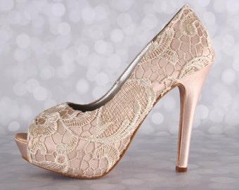 Wedding Shoes , Blush Wedding Shoes, Lace Bridal Heels, High Heel Shoes, Peeptoe Shoes, Wedding Shoe Ideas, Custom Wedding