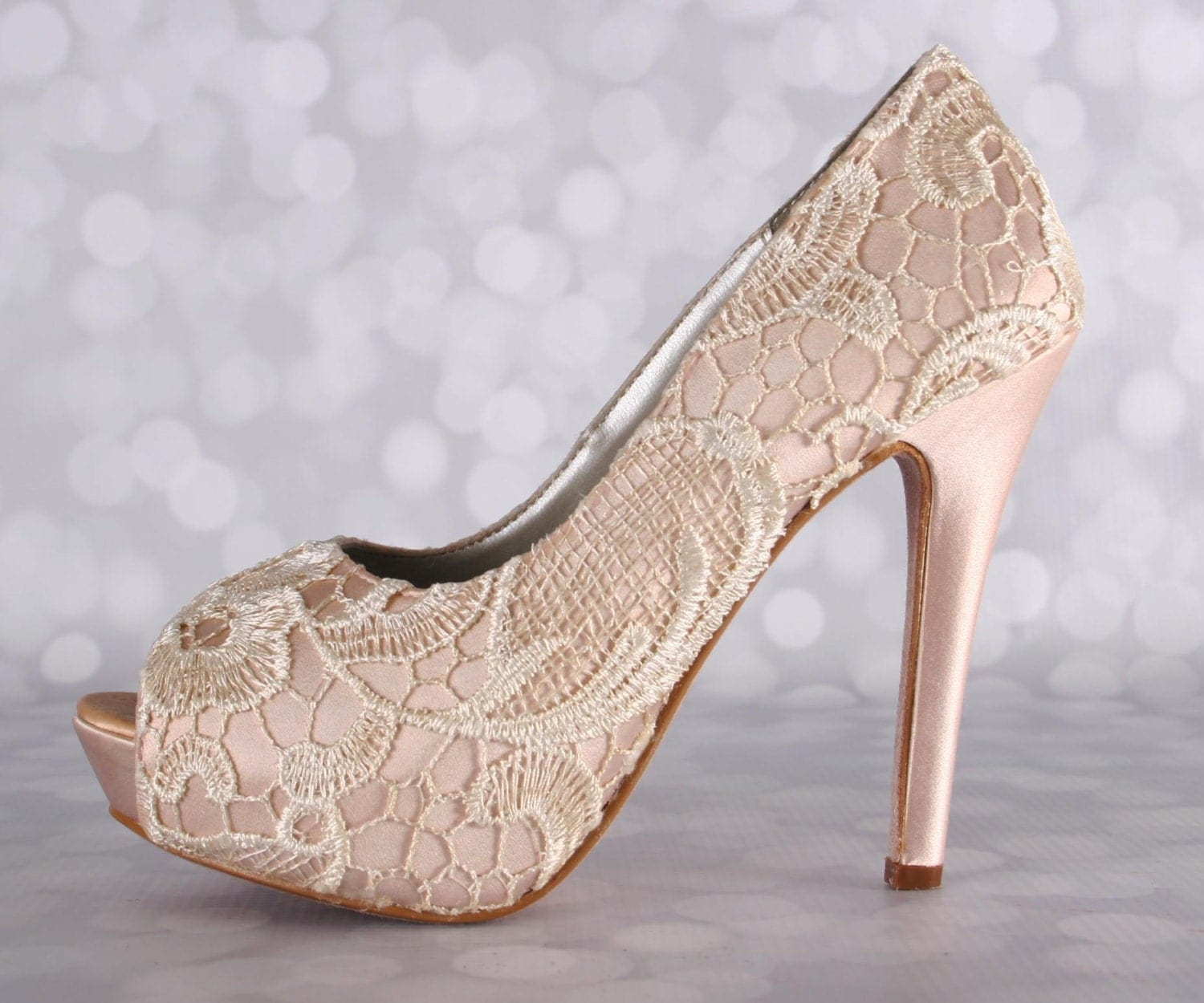 Bridal Shoes High Heels: Wedding Shoes Blush Wedding Shoes Lace Bridal Heels High