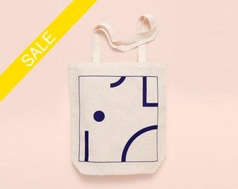 BLUE SHAPES - Screen printed canvas fair trade eco-tote bag