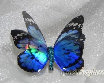 Sparkling Blue and Black iridescent resin Butterfly