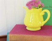 Yellow Ironstone Creamer Vase, Vintage Lemon Federalist Ironstone Creamer,  made in Japan