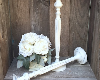 Shabby Chic Antique White Candle Holders, Extra Tall Large Candlesticks, Wedding Candle Holders