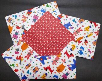 Card Envelope - Cute Animals -Handmade - 7 1/4 in x 5 in (18.5 cm x 13 cm) - Set of 4