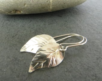 Sterling Silver Leaf Earrings, Small Silver Earrings, 925 Silver Earrings, Silver Earrings UK, Bridesmaid Gift, Last Minute Gift UK