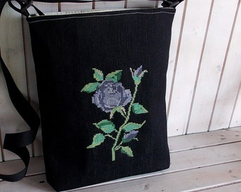 Lavender needlepoint rose Bohemian tote bag Canvas bag  crossbody, bag,cross stitch folk embroidered bag, market tote bag, Hungarian folk