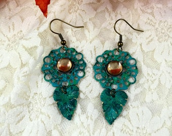 Bohemian Dangle Earrings   Patina Earrings   Filigree Earrings  item 357