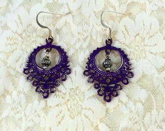 Gypsy Filigree Earrings   Dangle Earrings     Plum Earrings      item 2048