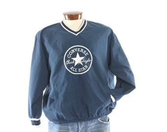 Vintage 80s CONVERSE Sweatshirt Embroidered Sweater Dark Blue Long Sleeve Shirt Athletic Gym Shirt 1980s Mens Large L