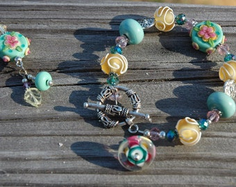 Clearance SALE Lampwork Bracelet Summer's Soft Breeze 50% Off