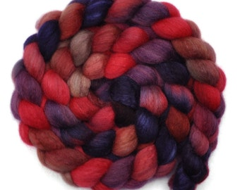 Hand painted spinning fiber - Silk / BFL wool 25/75% roving - 3.9 ounces - Stranger's Look 3