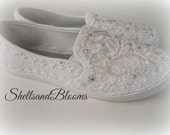Wedding Bridal Flat Shoes - chic white lace or Ivory cream - Rhinestone Pearls - eyelet trim - Shabby vintage inspired - sneakers tennis