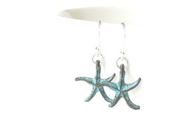 Turquoise starfish earrings, sterling silver ear wires with green patina starfish pendant, beach theme birthday gift for best friend