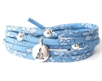 Meditating buddha bracelet with Liberty fabric in cornflower blue, Yoga gift for best friend, fabric wrap bracelet with beads