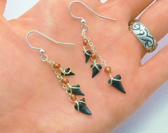 Sharks tooth Dangle Earrings - Magma Red Stones - Sterling Silver