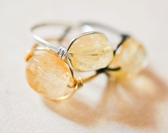 Natural Citrine Ring Solar Plexus Chakra - Wire Wrapped - Gold Silver Gunmetal Black Bronze - Made to Order