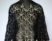 HANDKNIT Beaded LACE Crescent SCARF In Black Fine Wool Or Auburn Fine Kid Mohair Elegant Lightweihgt Wrap Stole Cowl Shawl Shawlette