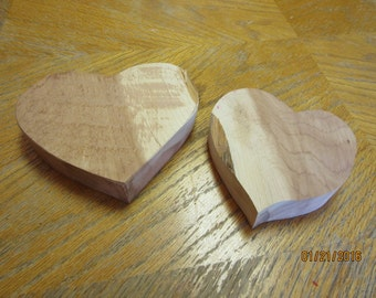 2 Chunky Unfinished Cedar Wood Hearts Valentine Craft Supplies Love